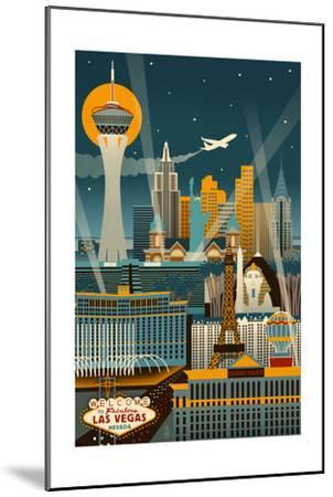 Las Vegas, Nevada - Retro Skyline (no text)-Lantern Press-Mounted Art Print