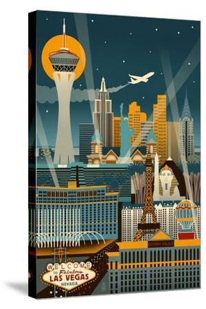 Las Vegas, Nevada - Retro Skyline (no text)-Lantern Press-Stretched Canvas Print