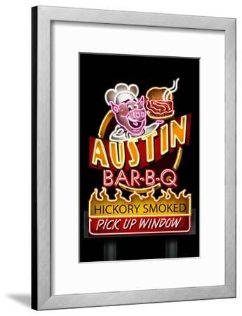 Austin, Texas - Neon BBQ Sign-Lantern Press-Framed Art Print