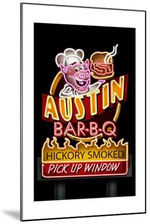 Austin, Texas - Neon BBQ Sign-Lantern Press-Mounted Art Print