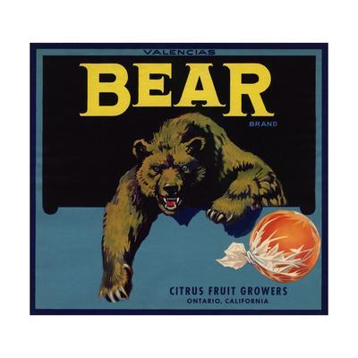 Bear Brand - Ontario, California - Citrus Crate Label-Lantern Press-Art Print