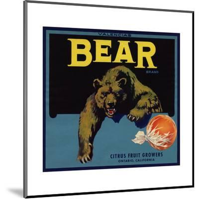 Bear Brand - Ontario, California - Citrus Crate Label-Lantern Press-Mounted Art Print