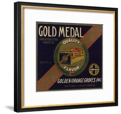 Gold Medal Brand - Covina, California - Citrus Crate Label-Lantern Press-Framed Art Print