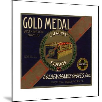 Gold Medal Brand - Covina, California - Citrus Crate Label-Lantern Press-Mounted Art Print
