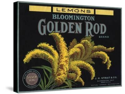 Golden Rod Brand - Bloomington, California - Citrus Crate Label-Lantern Press-Stretched Canvas Print