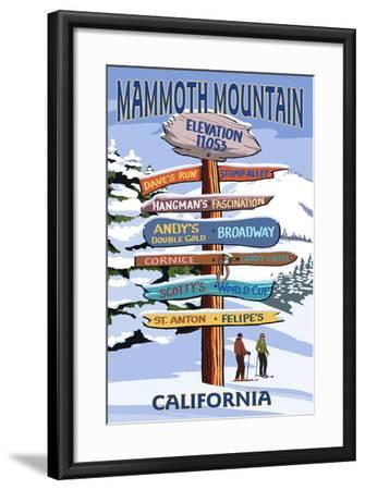 Mammoth Mountain, California - Ski Signpost-Lantern Press-Framed Art Print