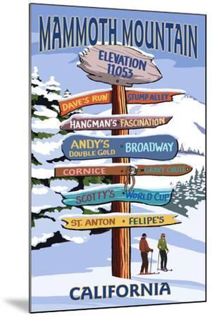 Mammoth Mountain, California - Ski Signpost-Lantern Press-Mounted Art Print