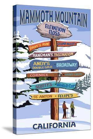 Mammoth Mountain, California - Ski Signpost-Lantern Press-Stretched Canvas Print