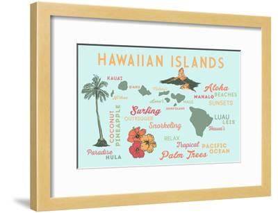 Hawaiian Islands - Typography and Icons-Lantern Press-Framed Art Print