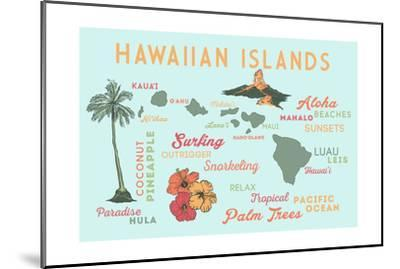 Hawaiian Islands - Typography and Icons-Lantern Press-Mounted Art Print