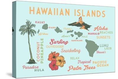 Hawaiian Islands - Typography and Icons-Lantern Press-Stretched Canvas Print