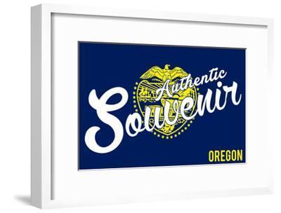 Visited Oregon - Authentic Souvenir-Lantern Press-Framed Art Print