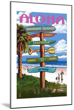 Hawaiian Islands - Destination Signpost-Lantern Press-Mounted Art Print