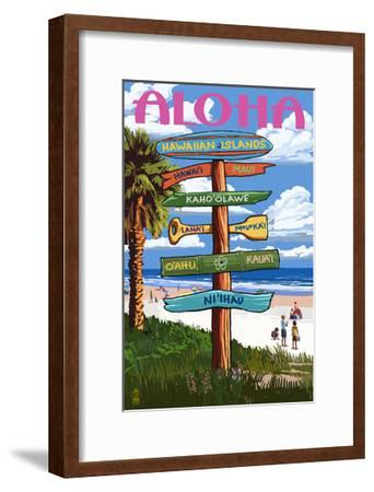 Hawaiian Islands - Destination Signpost-Lantern Press-Framed Art Print