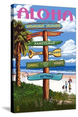 Hawaiian Islands - Destination Signpost-Lantern Press-Stretched Canvas Print