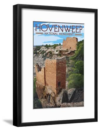 Hovenweep National Monument, Colorado - Holly Tower and House-Lantern Press-Framed Art Print