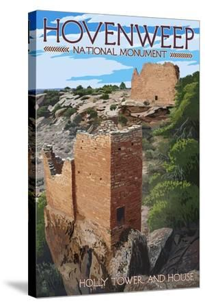 Hovenweep National Monument, Colorado - Holly Tower and House-Lantern Press-Stretched Canvas Print