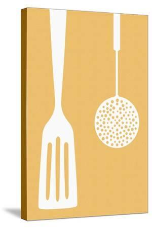 Spatula and Skimmer - Letterpress-Lantern Press-Stretched Canvas Print