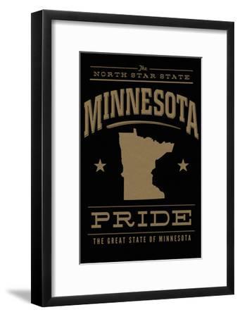 Minnesota State Pride - Gold on Black-Lantern Press-Framed Art Print