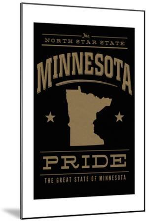 Minnesota State Pride - Gold on Black-Lantern Press-Mounted Art Print