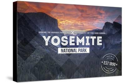 Yosemite National Park, California - Valley at Sunset Rubber Stamp-Lantern Press-Stretched Canvas Print