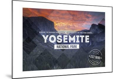 Yosemite National Park, California - Valley at Sunset Rubber Stamp-Lantern Press-Mounted Art Print