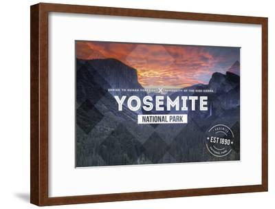 Yosemite National Park, California - Valley at Sunset Rubber Stamp-Lantern Press-Framed Art Print