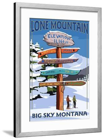Big Sky, Montana - Lone Mountain - Ski Signpost-Lantern Press-Framed Art Print