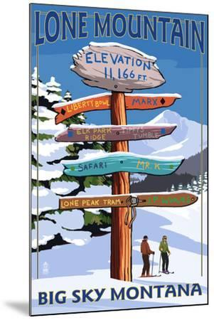 Big Sky, Montana - Lone Mountain - Ski Signpost-Lantern Press-Mounted Art Print