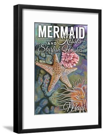 Maui, Hawaii - Mermaid Kisses and Starfish Wishes - Tidepool-Lantern Press-Framed Art Print