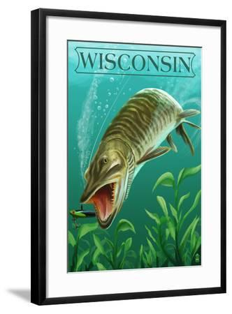 Wisconsin - Muskie-Lantern Press-Framed Art Print