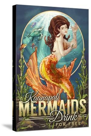 Kaanapali, Hawaii - Mermaids Drink for Free-Lantern Press-Stretched Canvas Print