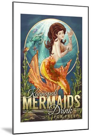 Kaanapali, Hawaii - Mermaids Drink for Free-Lantern Press-Mounted Art Print
