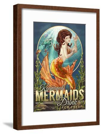 Kaanapali, Hawaii - Mermaids Drink for Free-Lantern Press-Framed Art Print