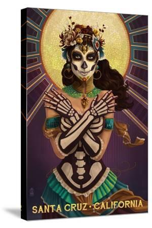 Santa Cruz, California - Day of the Dead Crossbones-Lantern Press-Stretched Canvas Print