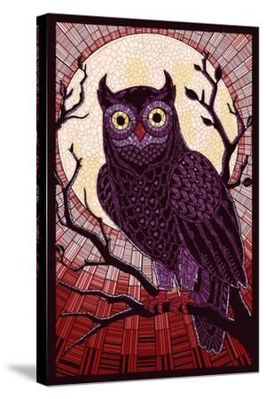 Owl - Paper Mosaic (Red)-Lantern Press-Stretched Canvas Print