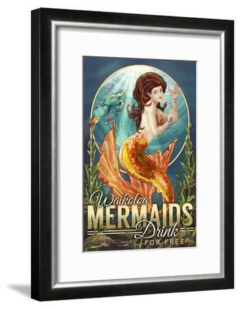 Waikoloa, Hawaii - Mermaids Drink for Free-Lantern Press-Framed Art Print