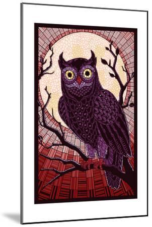 Owl - Paper Mosaic (Red)-Lantern Press-Mounted Art Print