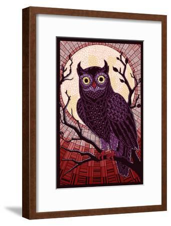 Owl - Paper Mosaic (Red)-Lantern Press-Framed Art Print