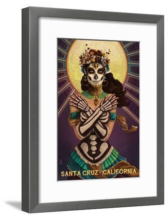 Santa Cruz, California - Day of the Dead Crossbones-Lantern Press-Framed Art Print