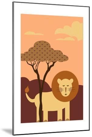 Simple Lion - Orange-Lantern Press-Mounted Art Print