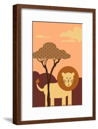 Simple Lion - Orange-Lantern Press-Framed Art Print