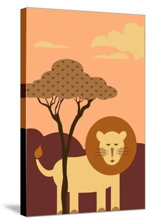 Simple Lion - Orange-Lantern Press-Stretched Canvas Print