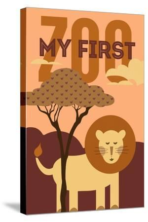 My First Zoo - Lion - Orange-Lantern Press-Stretched Canvas Print