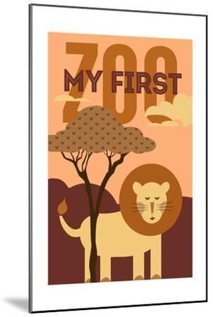 My First Zoo - Lion - Orange-Lantern Press-Mounted Art Print