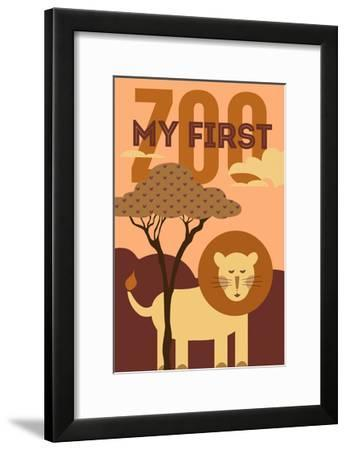 My First Zoo - Lion - Orange-Lantern Press-Framed Art Print