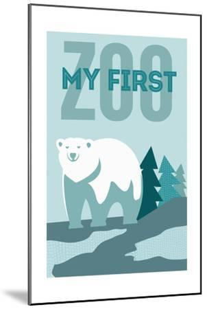 My First Zoo - Polar Bear - Blue-Lantern Press-Mounted Art Print