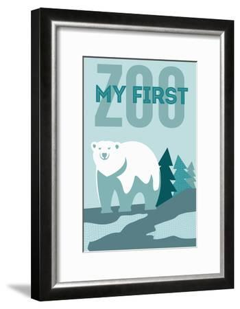 My First Zoo - Polar Bear - Blue-Lantern Press-Framed Art Print