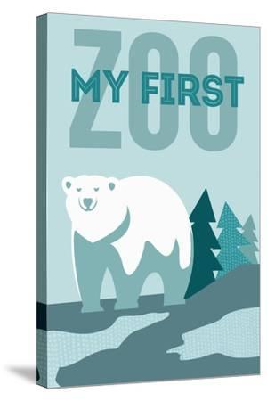 My First Zoo - Polar Bear - Blue-Lantern Press-Stretched Canvas Print