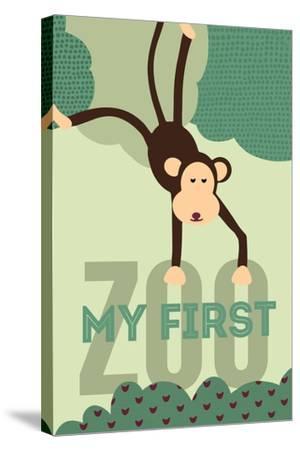 My First Zoo - Monkey - Green-Lantern Press-Stretched Canvas Print